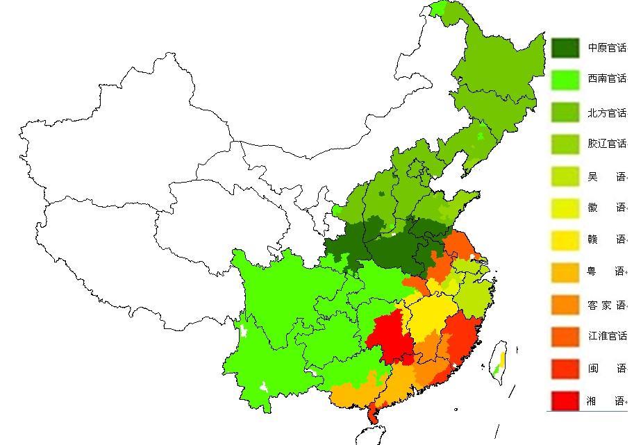 绘制出中国10大汉语方言的区域分布图