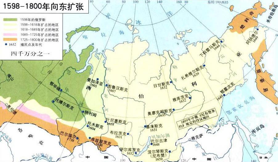 俄罗斯1598—1800年向东扩张地图